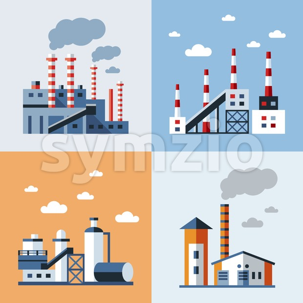 Digital vector blue factory pollution icons with drawn simple line art info graphic, presentation with plant, smoke, environment and energy ...