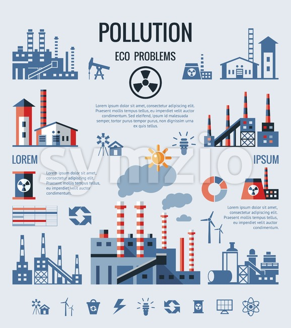 Digital vector blue factory pollution icons with drawn simple line art info graphic, presentation with nuclear plant, smoke, environment and ...