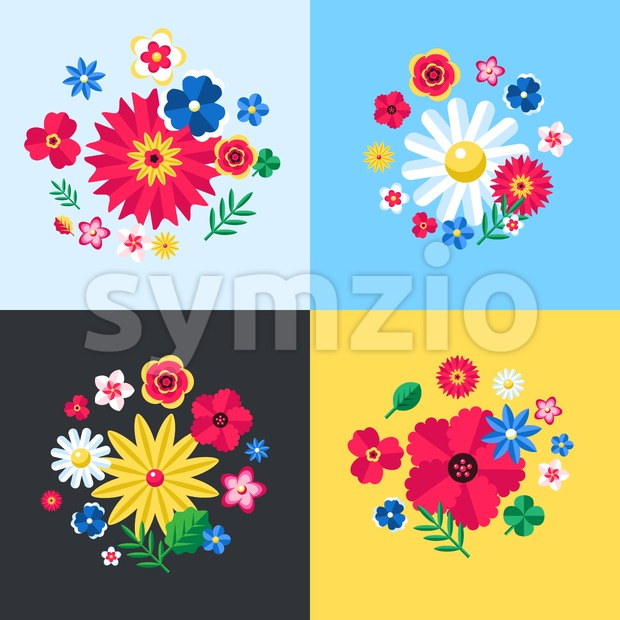Digital vector blue flowers set icons with drawn simple line art info graphic, presentation with petals, branch and floral elements around promo Stock Vector