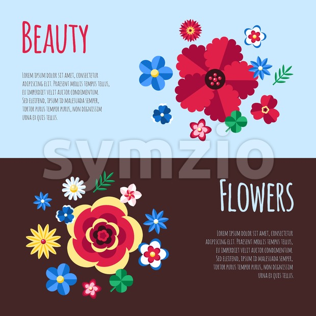 Digital vector blue flowers set icons with drawn simple line art info graphic, presentation with petals, beauty branch and floral elements around Stock Vector