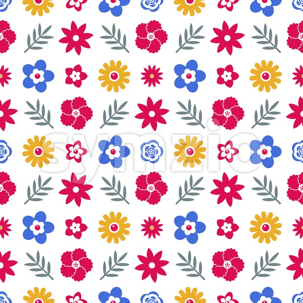 Digital vector blue red flowers set icons with drawn simple line art info graphic, seamless pattern, presentation with petals, branch ...