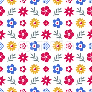 Digital vector blue red flowers set icons with drawn simple line art info graphic, seamless pattern, presentation with petals, branch and floral Stock Vector