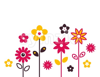 Digital vector red growing flowers set icons with drawn simple line art info graphic, presentation with petals, branch and floral elements around Stock Vector