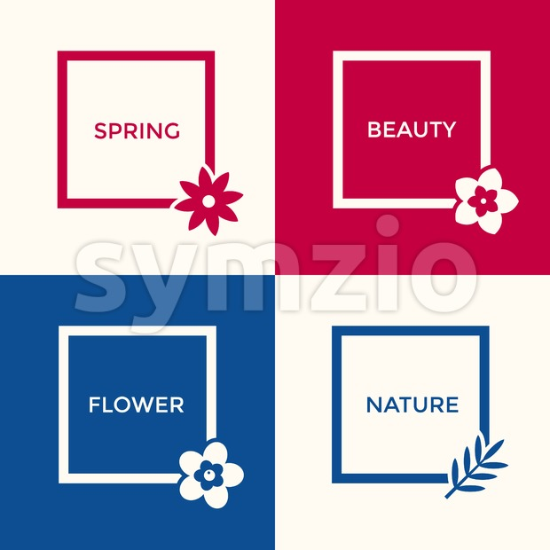 Digital vector blue red flowers set icons with drawn simple line art info graphic, presentation with frames, spring beauty, square and floral elements Stock Vector