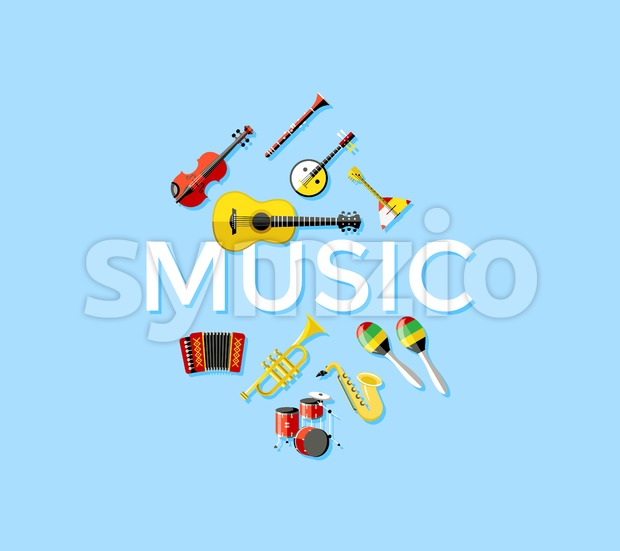 Digital vector blue music instruments icons with drawn simple line art info graphic, presentation with guitar, piano, drums and sound elements around Stock Vector