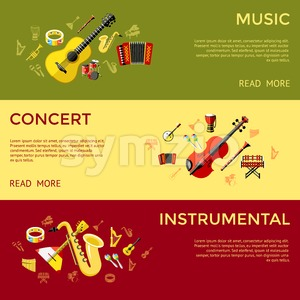 Digital vector green music instruments icons with drawn simple line art info graphic, presentation with guitar, piano, drums and sound elements around Stock Vector