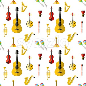 Digital vector blue red music instruments icons with drawn simple line art info graphic, seamless pattern, presentation with guitar, piano, drums and Stock Vector