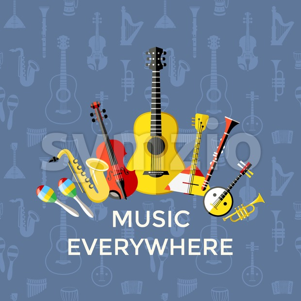 Digital vector blue music everywhere instruments icons with drawn simple line art info graphic, presentation with guitar, piano, drums and sound Stock Vector