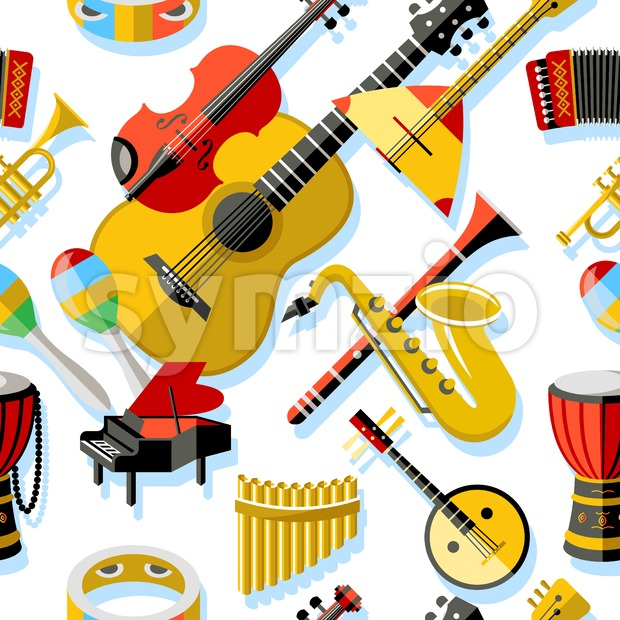 Digital vector yellow red music instruments icons with drawn simple line art info graphic, seamless pattern, presentation with guitar, piano, drums Stock Vector