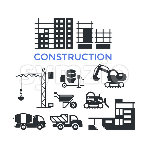 Digital vector black construction building tracks icons with drawn simple line art info graphic, presentation with crane, grout, excavator and cement Stock Vector