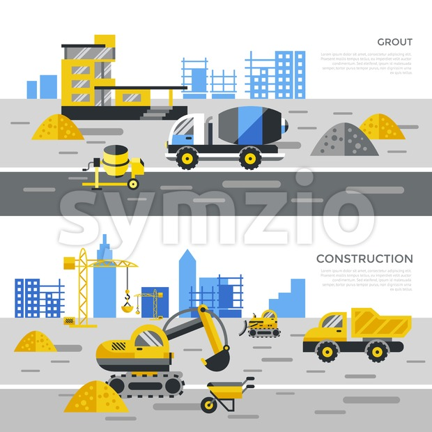 Digital vector yellow construction building tracks icons with drawn simple line art info graphic, presentation with crane, road, grout, excavator ...