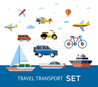 Digital vector blue red travel transport icons set with drawn simple line art info graphic, presentation with car, plane and vehicle elements around Stock Vector
