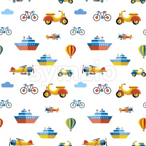 Digital vector blue red travel transport icons set with drawn simple line art info graphic, seamless pattern, presentation with boat, plane and Stock Vector
