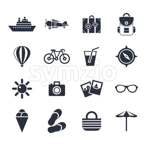 Digital vector black beach travel icons set with drawn simple line art info graphic, presentation with sun, slippers and sea vacation elements around Stock Vector