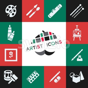 Digital vector green red artist icons set with drawn simple line art info graphic, presentation with paint, canvas, brush and art tools elements Stock Vector