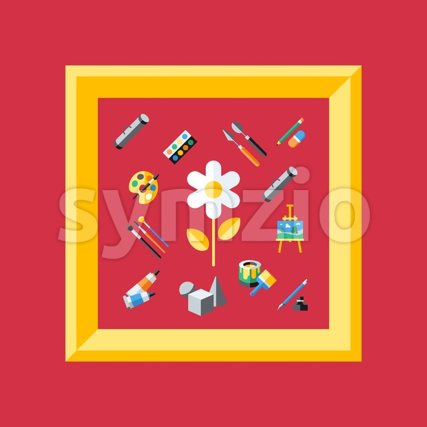 Digital vector red artist icons set with drawn simple line art info graphic, presentation with paint, canvas, brush and art tools elements around Stock Vector