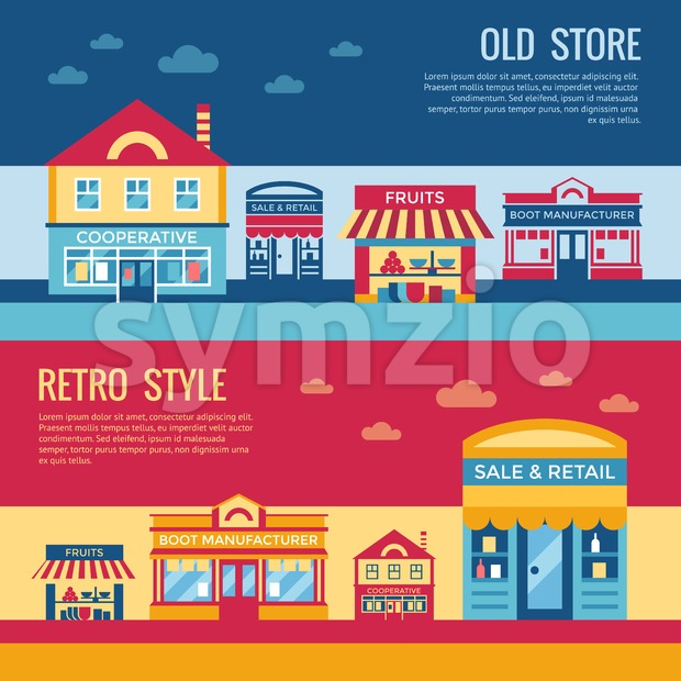 Digital vector red blue retro supermarket icons with drawn simple line art info graphic, presentation with commerce, shopping building elements around Stock Vector