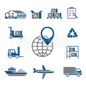 Digital vector silver blue warehouse icons with drawn simple line art info graphic, presentation with transport, globe and storage depositing logistic Stock Vector