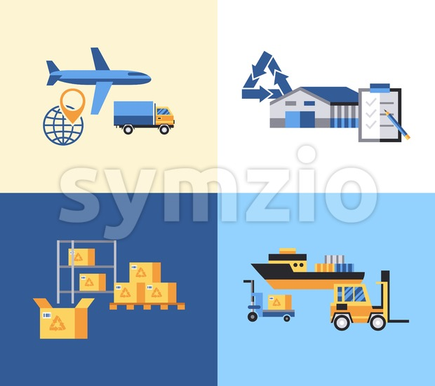 Digital vector yellow blue warehouse icons with drawn simple line art info graphic, presentation with transport, globe and storage depositing logistic Stock Vector