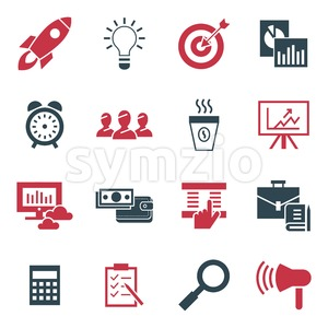 Digital vector black red startup icons with drawn simple line art info graphic, presentation with rocket, project and business elements around promo Stock Vector