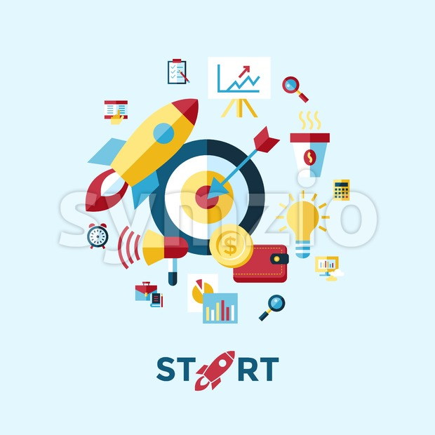 Digital vector blue red startup icons with drawn simple line art info graphic, presentation with rocket, project and business elements ...