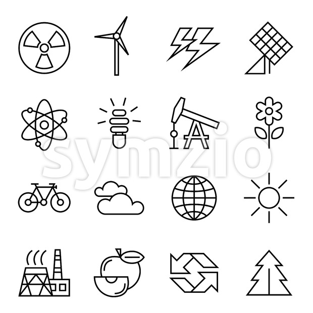 Digital vector black ecology icons with drawn simple line art info graphic, presentation with recycle, production and alternative energy circuit Stock Vector