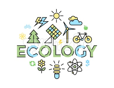 Digital vector yellow blue ecology environment icons with drawn simple line art info graphic, presentation with recycle, production and alternative Stock Vector