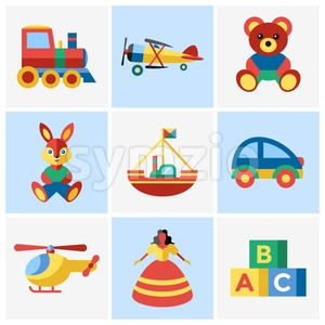 Digital vector blue yellow children toys icons with drawn simple line art info graphic, presentation with bear, plane and bunny elements around promo Stock Vector