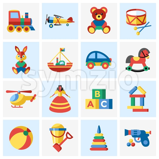 Digital vector blue yellow children toys icons with drawn simple line art info graphic, presentation with bear, plane and bunny ...