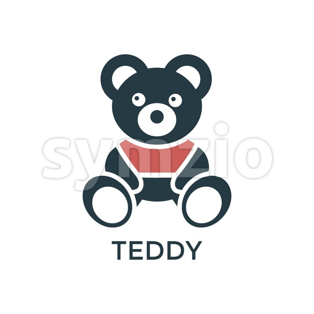 Digital vector black red big teddy bear children toy icons with drawn simple line art info graphic, promo template, flat Stock Vector