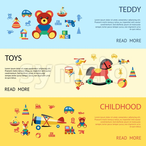 Digital vector blue yellow children toys icons with drawn simple line art info graphic, presentation with bear, plane and bunny childhood elements Stock Vector