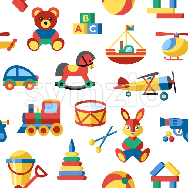 Digital vector blue yellow children toys icons with drawn simple line art info graphic, seamless pattern, presentation with bear, plane and bunny Stock Vector