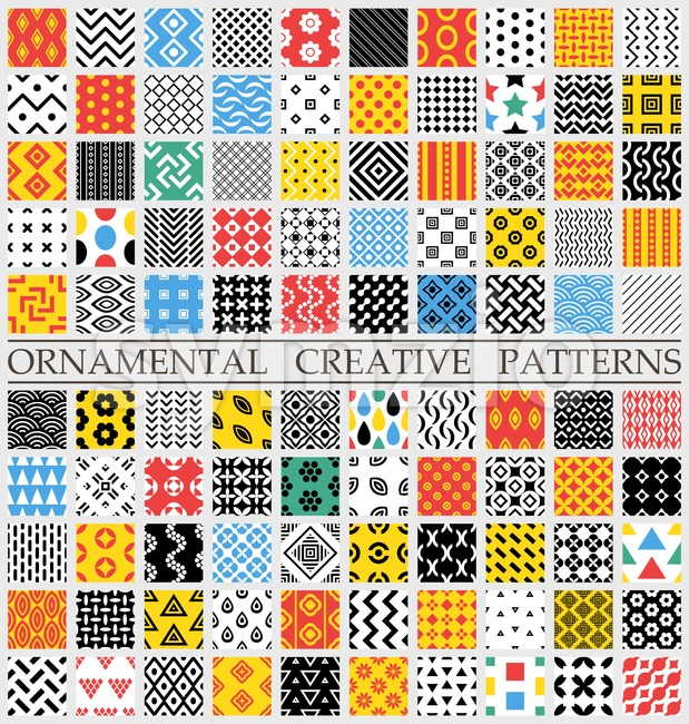 Digital vector color geometric universal different seamless patterns with swatch tiling endless texture, for web and decorative ornaments
