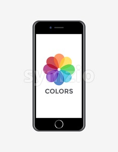 Digital vector realistic mobile phone screen with color wheel icon, desktop wallpaper Stock Vector