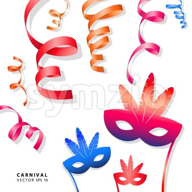 Digital vector blue red yellow carnival masks with drawn simple line art info graphic, presentation with ribbon strip and stars elements around promo Stock Vector