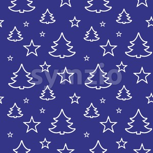 Digital vector blue happy new year merry christmas icons with drawn simple line art info graphic, seamless pattern, presentation with tree and stars Stock Vector