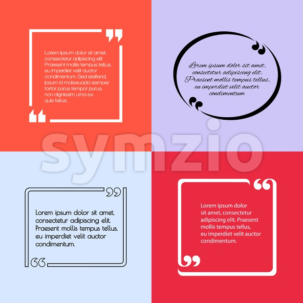 Digital vector quote frames box set blank template with print information design icon, empty citation, flat style Stock Vector