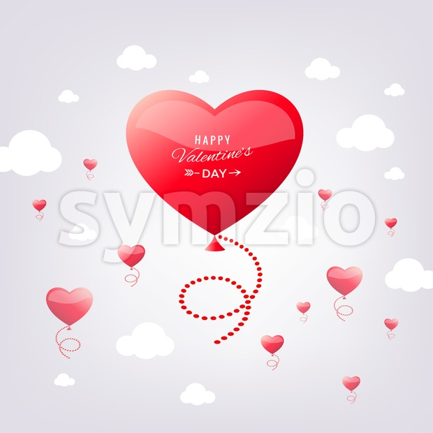 Digital vector red heart texture valentine day bubble or wedding design element, love and passion, poster template for print or ads flat style Stock Vector