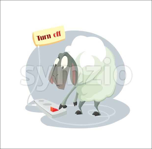 Digital vector funny cartoon sheep character trying a gadget and pushing a red turn off button, abstract flat style