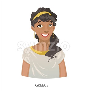 Digital vector funny cartoon smiling greek woman in national dress, black curled hair, abstract flat style Stock Vector