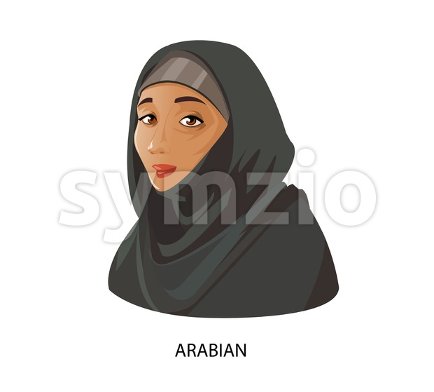 Digital vector funny cartoon arabian muslim woman in black dress dark face, abstract flat style