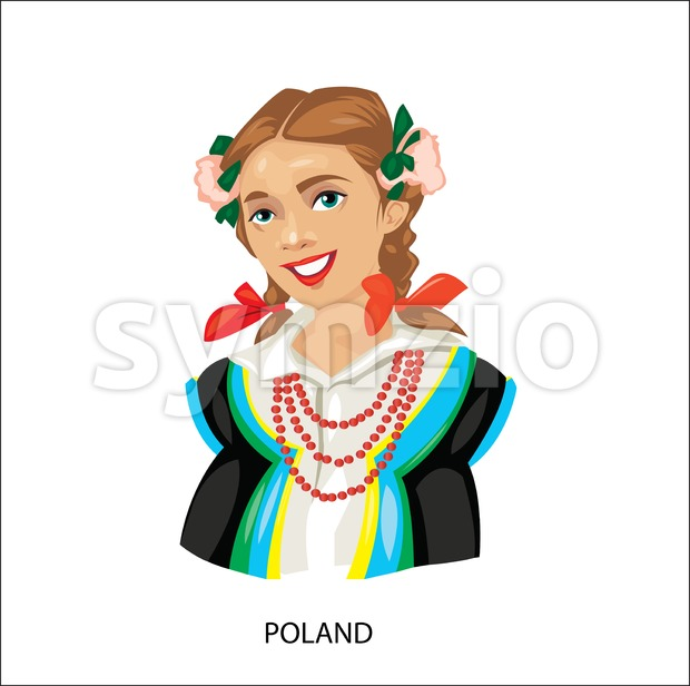 Digital vector funny cartoon smiling poland woman in national dress with beads, flowers in hair, abstract flat style Stock Vector