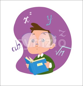 Digital vector funny cartoon happy genius kid boy with glasses reading a math book with formulas, abstract flat style Stock Vector