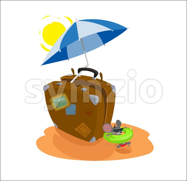 Digital vector funny cartoon big brown travel suitcase at the beach with sun and umbrella with blue stripes, happy mouse ...
