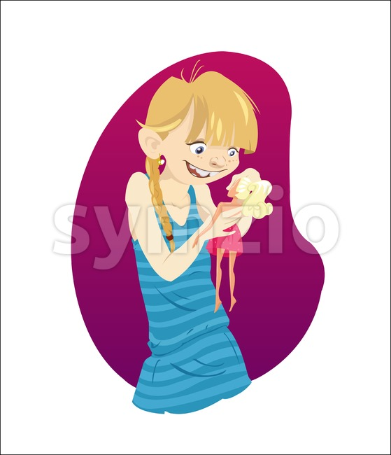 Digital vector funny cartoon happy malefic young blonde kid girl character with blue dress, playing with a doll, abstract flat ...