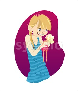Digital vector funny cartoon happy malefic young blonde kid girl character with blue dress, playing with a doll, abstract flat style Stock Vector