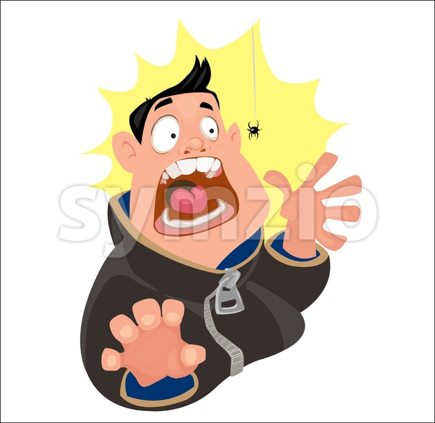 Digital vector funny cartoon crazy man character scared by a spider, mouth white open big tongue and white teeth, abstract flat style Stock Vector