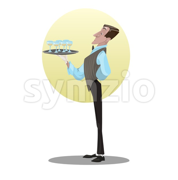 Digital vector funny comic cartoon tall and skinny waiter in gloves holding tray glasses with drinks, dressed in suite and ...