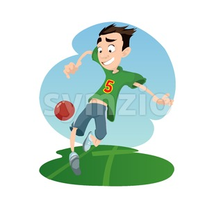 Digital vector funny comic cartoon happy kid boy enjoying playing soccer football with a red ball, dressed in green tshirt, hand drawn illustration, Stock Vector