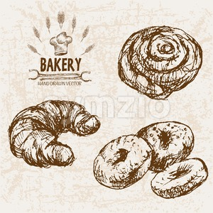 Digital vector detailed line art bakery bread and dried wheat hand drawn retro illustration collection set. Thin artistic pencil outline. Vintage ink Stock Vector